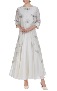 Taika by Poonam Bhagat Chanderi dragonfly embroidered tunic with anarkali