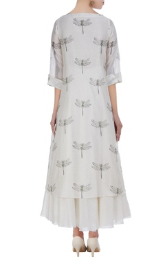 Chanderi dragonfly embroidered tunic with anarkali