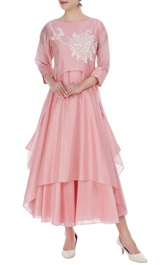 Taika by Poonam Bhagat Chanderi embroidered tunic with anarkali