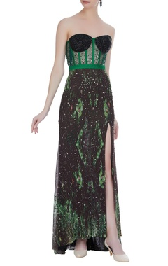 Hand embroidered gown with side slit