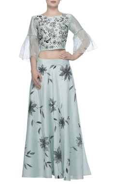 Devnaagri Printed lehenga with embroidered blouse