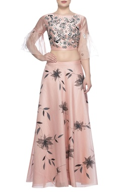 Devnaagri Embroidered blouse with block printed lehenga