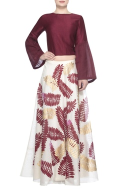 Devnaagri Satin-linen blouse with printed lehenga
