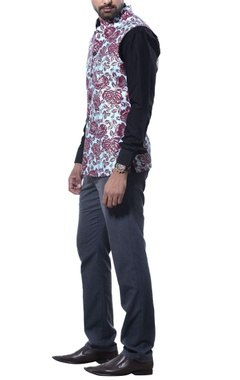 Debarun - Men Flower print nehru jacket