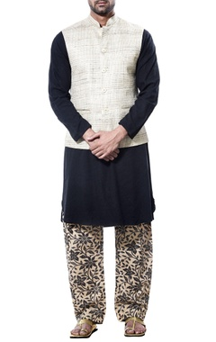Debarun - Men Jute nehru jacket with kurta and printed salwar
