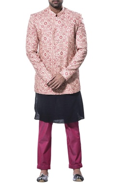 Debarun - Men Printed nehru jacket with kurta and pants