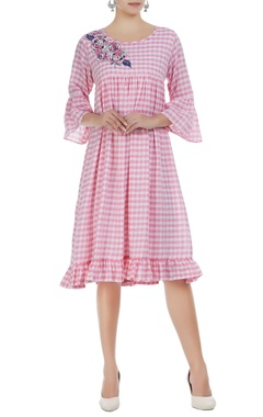 Rajat & Shraddha Checkered midi dress with embroidery detail