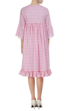 Checkered midi dress with embroidery detail