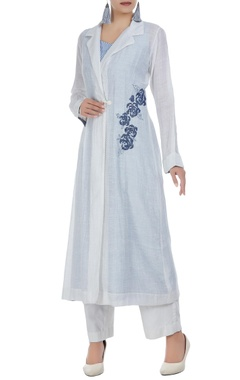 Rajat & Shraddha Rose motif embroidered tunic with inner