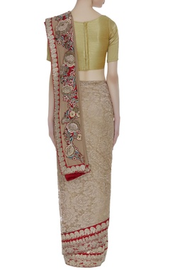 Rose embroidered georgette sari