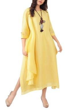 Sayantan Sarkar Side pleated maxi dress