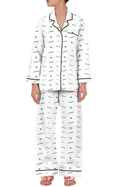 'Stationery' printed cotton shirt with pyjama pants