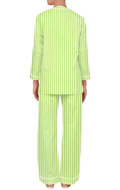 Stripe pattern nightwear shirt and pants