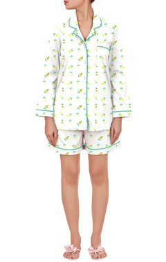 Pineapple printed nightwear shirt with shorts
