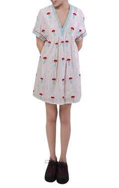 Rimzim Dadu Embroidered short midi dress