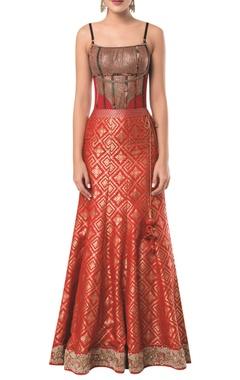 Spaghetti sleeves corset blouse with mermaid lehenga
