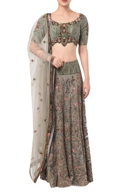 Rocky Star Textured blouse with embellished lehenga and dupatta