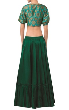 Brocade blouse with frill detail lehenga