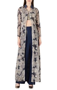 Ridhima Bhasin Floral printed jacket with wrap style pants & bustier