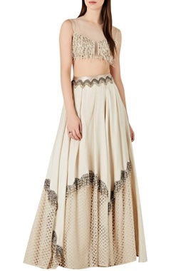 Ridhima Bhasin Beaded tassel blouse with accordion pleated lehenga