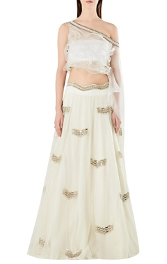 Ridhima Bhasin One-shoulder ruffle cape-blouse with lehenga