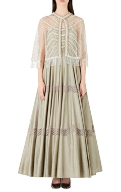Ridhima Bhasin Flared spaghetti strap anarkali with embellished cape