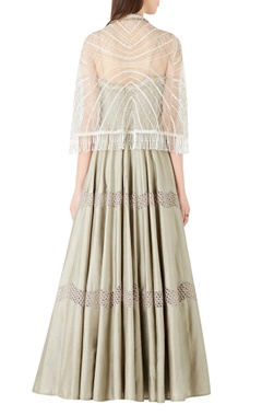 Flared spaghetti strap anarkali with embellished cape