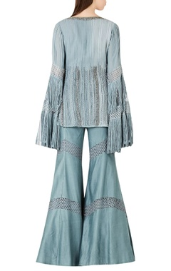 Embroidered long kurta with flared pants