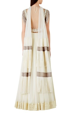 Fringe embellished jumpsuit with textured dupatta