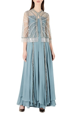 Ridhima Bhasin Layered georgette jumpsuit with tassel cape