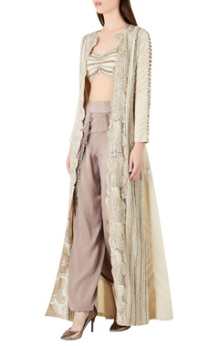 Ridhima Bhasin Pearl & zari embroidered jacket with bustier & pants