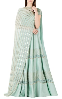 Ridhima Bhasin Textured panel anarkali with embellished dupatta