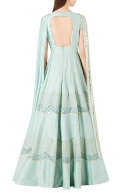 Textured panel anarkali with embellished dupatta