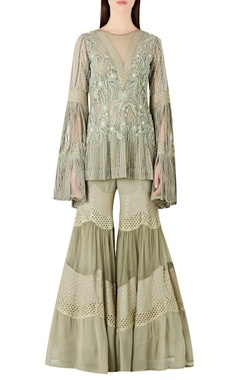 Ridhima Bhasin Embroidered short kurta with fringe sleeves & sharara pants