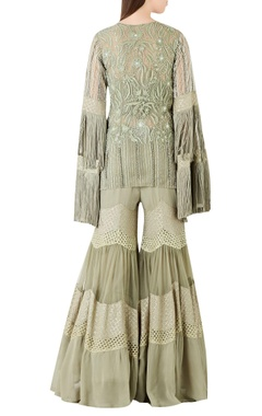 Embroidered short kurta with fringe sleeves & sharara pants