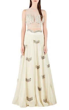 Ridhima Bhasin Sheer back blouse with embroidered lehenga