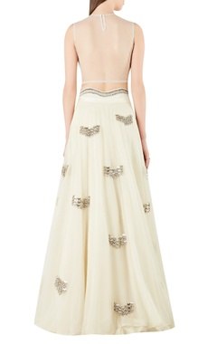Sheer back blouse with embroidered lehenga