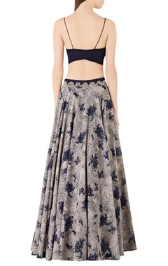 Spiral printed lehenga with spaghetti blouse