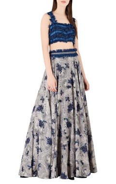 Ridhima Bhasin Denim fringe blouse with printed lehenga