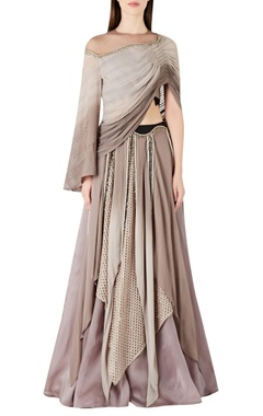 Ridhima Bhasin Cape style blouse with asymmetric lehenga