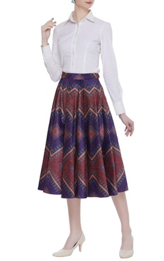 Siddhartha Bansal Velvet box pleated printed midi skirt