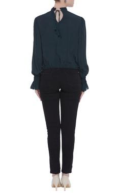 Pure crepe silk pleated blouse