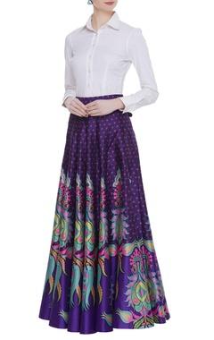 Siddhartha Bansal Dupion silk printed maxi skirt