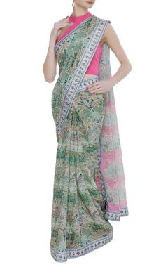 Siddhartha Bansal Crepe silk floral printed sari