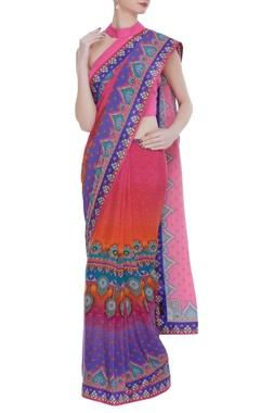 Siddhartha Bansal Floral printed crepe silk sari