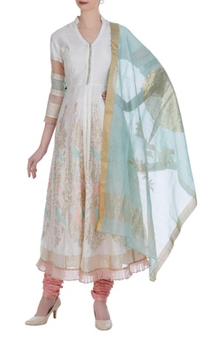 Anarkali kurta with dupatta and churidar