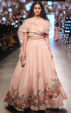 Floral embroidered lehenga with blouse and ruffle dupatta