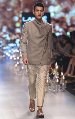 Drape jacket with embellished kurta and trouser pants