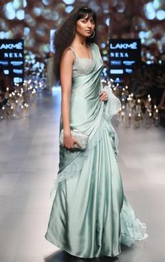 Ruffle boder sari with embellished blouse