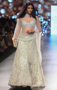 Shyamal & Bhumika Zardozi embroidered lehenga with blouse and dupatta